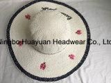 100% de papel hecho a mano del estilo de la playa de disquete del bordado del sombrero de paja Emb