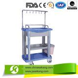 Chariot Emergency à ABS d'hôpital avec IV Pole&Basket (CE/FDA/ISO)