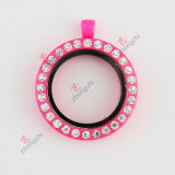 30mm Hot Pink Lacquer Glass Locket Fashion Necklace (#29)