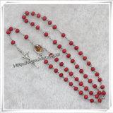 Rosaire en bois parfumé rouge de talons avec l'illustration (IO-cr324)