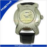 Het irregualr-gevormde Horloge van het Roestvrij staal met Echte Band psd-2785 van het Leer