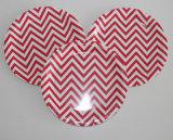 """plaque de papier remplaçable ronde rouge de vaisselle de 9 """" et de 7 """" Chevron"""