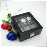 Caixa luxuosa Handmade de couro de relógio de Mens do plutônio para o homem