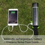 4000mAh電池が付いている多機能の太陽エネルギーの200メートル照明1W 5LEDトーチの懐中電燈Powerbankd K01