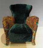 オットマン(HW-6705C)が付いているホームのための現代木製フレームの椅子