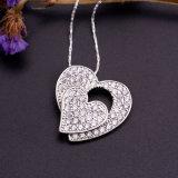 مزدوجة قلب شكل بيضاء تكعيبيّ زركونيوم فضة يصفّى مدلّاة عقد