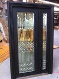 黒いマットのガラスステンレス鋼のドア