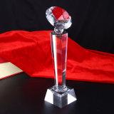 Оптовое пожалование трофея футбола кристаллический стекла спортивного мероприятия K9