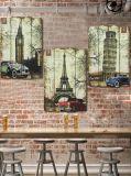 De Amerikaanse Retro Geschilderde Muurschildering van het Huishouden van de Staaf van de Muurschildering van de Muur van de Versiering Metope Houten Frameless
