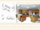 Gabinetes 2015 de cocina rojos de madera sólida de la cereza de la cocina de Guanjia