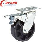 125 mm Heavy Duty giratoria de alta temperatura de las ruedas giratorias (con freno de lado)