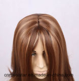De calidad superior de la estrella Mujeres recta larga peluca sintética de Brown