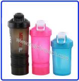Coctelera plástica de la proteína de la botella elegante