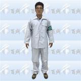 Terno branco da chuva de PVC/Polyester/PVC com fita reflexiva