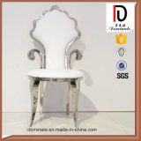 새로운 디자인 백색 호화스러운 크라운 왕 결혼식 스테인리스 의자
