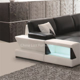 Neuestes Wohnzimmer Divany ledernes Sofa mit LED-Lichtern