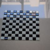 Mattonelle di mosaico di vetro calde del quadrato bianco della miscela del nero di vendita per la stanza da bagno