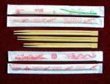 十分にペーパーカバーが付いている使い捨て可能なタケ箸