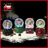 Base linda del tren del muñeco de nieve de los globos de la nieve de la Navidad de los regalos de los globos del agua de Polyresin