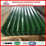上塗を施してある波形の金属の屋根ふきシートを着色しなさい
