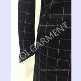 Frauen-Form und populärer quadratischer Druck stricken langen Art-Blazer (BLA-40)