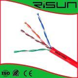 Cavo di Ethernet rosso di U/UTP Cat5e per l'alogeno di cablaggio strutturato di bisogni liberamente
