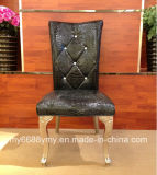 Crystal Button Decorated Dining Stainless Steel Chair