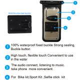 Wasserdichter Beutel-Kopfhörer Jack und Fahrrad-Montierung mit installieren die an Lenkstange