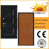 Puerta de acero de la piel exterior de madera de Seguridad Interior (SC-A204)