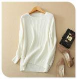 Strickwaren-reiner Kaschmir-Strickjacke-Pullover-Normallack der Frauen mit langem Stutzen der Hülsen-O