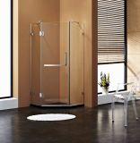Diamant-Form-Scharnier-geöffnetes Dusche-Gehäuse mit freien Glas-und Chrom-Befestigungsteilen