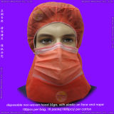 Nonwoven/PP/Medical/Surgical/Protective/Operation/Space/Disposable Surgeon Cap, Disposable Round Cap, Disposable Hood avec Face Mask, Disposable Astronaut Cap
