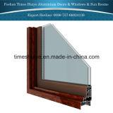 Portello di alluminio della stoffa per tendine di colore di legno