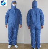 塵の証拠および反液体氾濫のための使い捨て可能で青いNonwovenつなぎ服