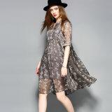灰色の花パターンAラインのための服装は女性の服をプリーツをつけた