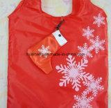 Saco de compra relativo à promoção da dobradura Foldable de Polyster do teste padrão das peúgas das luvas de Bell do chapéu do Xmas do Natal