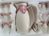 Tazza di caffè di ceramica di stile europeo impostata con il fiore (LR-0100)