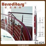Trilhos interiores da escada do aço inoxidável e da madeira com fio/Rod (SJ-H1548)