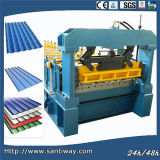 Les tuiles de toit colorées laminent à froid former la machine