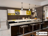 Armadio da cucina di legno domestico moderno dell'isola U della mobilia dell'hotel