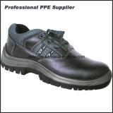 Zapatos de trabajo duro de acero de la punta del cuero liso de la acción