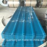 Colorer la feuille en acier ondulée bleue enduite de toit