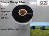 PRO película fundida 750mm*1500m*20um do envoltório preto da ensilagem
