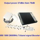 27dBm CDMA PCS 850 1900 tri ripetitori del segnale del telefono mobile della fascia di Aws 1700/2100MHz