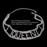 Colar Handmade do Choker do cobre da letra da rainha do Rhinestone de cristal luxuoso