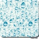 Impresión hidrográfica vendedora caliente Tssd7501 del Aqua de la película de las películas de la impresión de la transferencia del agua del cepillo del metal de la gota del agua de la anchura de Tsautop los 0.5m/1m