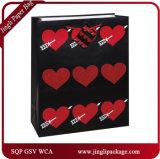 L'ultimo regalo del documento del biglietto di S. Valentino di disegno 2017 insacca i sacchetti di acquisto con la maniglia del nastro del raso