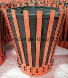 Slittamento del giacimento di petrolio sul cestino d'acciaio del cemento delle alette del metallo saldato
