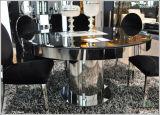 (ST-140) Noir ronde en verre trempé Table à manger