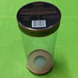 Rectángulo claro del cilindro del PVC para el vino con la tapa